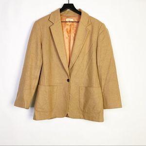 J. Crew Wool Blend Long Coat Blazer in Camel